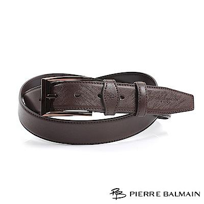 【PB皮爾帕門】方框細點紋二層牛皮休閒針扣皮帶(885)