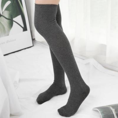 【89 zone】日系素面條紋學院風顯瘦中筒/過膝襪(深灰)