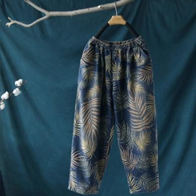 鬆緊腰貼布口袋棉質印花牛仔褲寬鬆大碼九分褲-設計所在