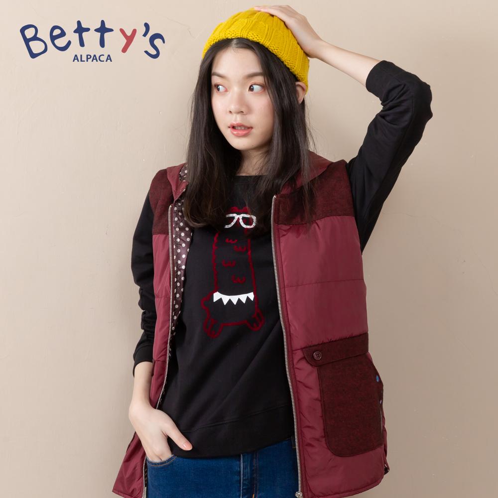 betty's貝蒂思 圓領小貝羊戴眼鏡長袖T-shirt(黑色) @ Y!購物