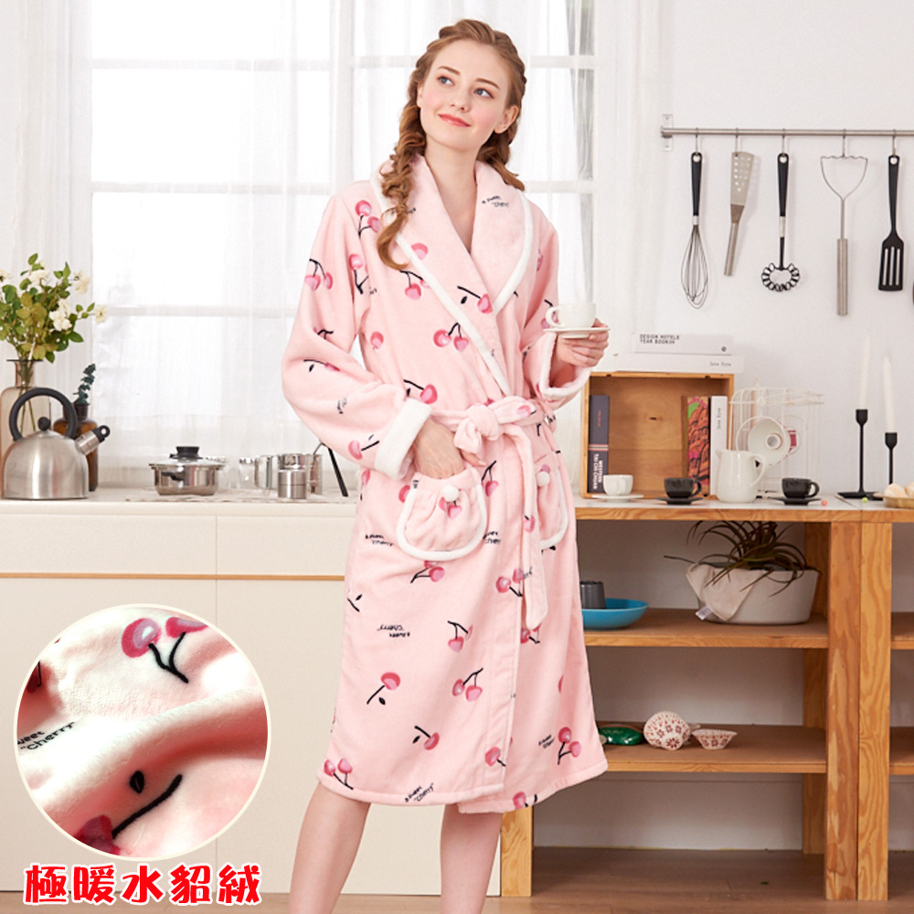 睡袍 櫻桃甜心 極暖高克重超柔軟水貂絨女性睡袍(R79226-2粉)-蕾妮塔塔