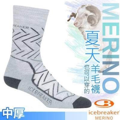 Icebreaker 女款 美麗諾羊毛 Hike+ 中筒中毛圈健行襪(2入)_淺灰線條