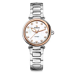 TITONI瑞士梅花錶 炫美時尚快拆系列-玫瑰金/珍珠母貝錶盤/鍊帶/33.5mm