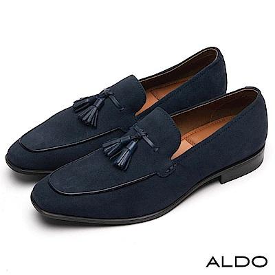 ALDO 原色真皮鞋面穿帶式流蘇尖頭樂福粗跟男鞋~夜空藍色