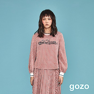 gozo 蠟筆文字印花細格紋上衣(二色)