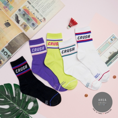 阿華有事嗎 韓國襪子  雙色條紋CRUSH中筒襪  韓妞必備長襪 正韓百搭卡通襪