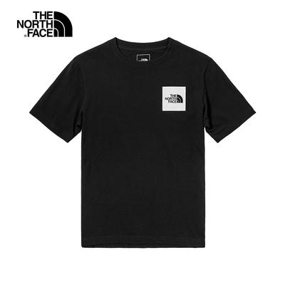 The North Face北面男款黑色胸前LOGO印花圓領短袖T恤 5AZEJK3