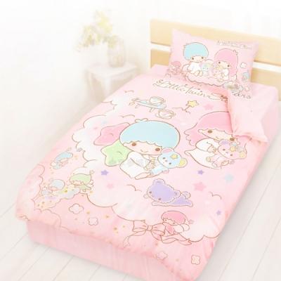 享夢城堡 精梳棉單人床包雙人涼被三件組-雙星仙子Little Twin Stars 小熊扮家家-粉