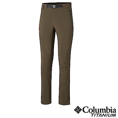 Columbia哥倫比亞 男款-鈦 防潑彈性長褲-軍綠 UAO05110AG