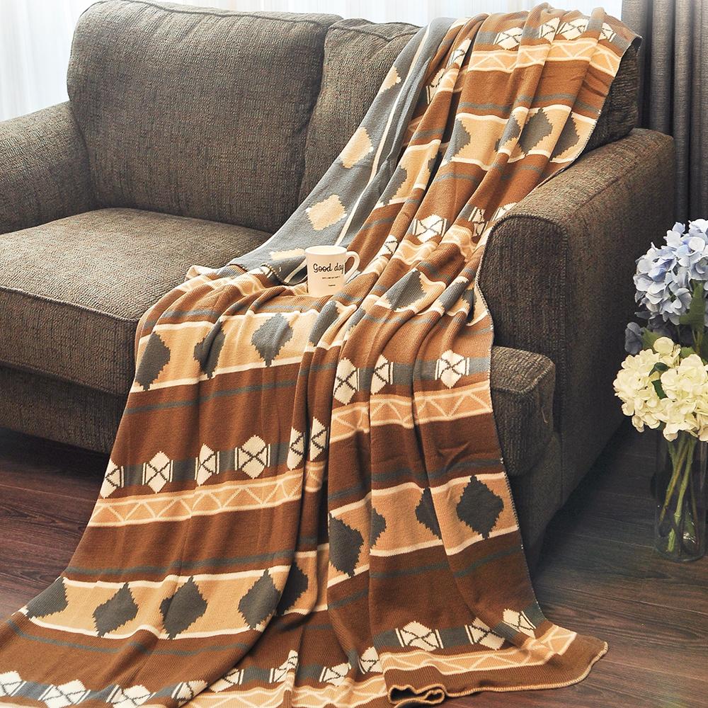 亞曼達Amanda 北歐風純棉針織四季毯 萬用毯 隨意毯 -秋意