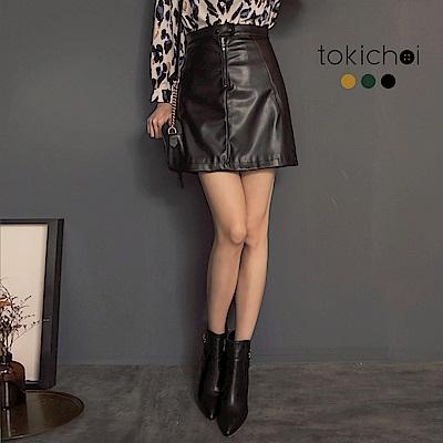 東京著衣 時髦加分主角級仿皮革個性包裙-S.M(共三色)