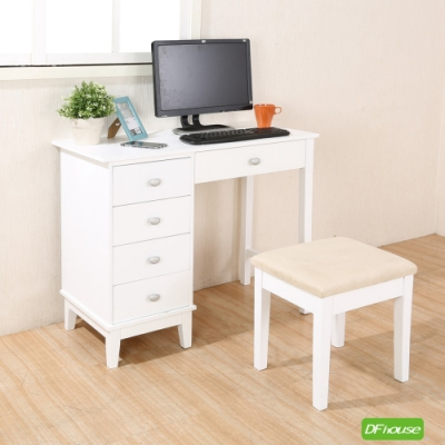 DFhouse貝芮妮-法式簡約書桌-白色 92*46.5*75