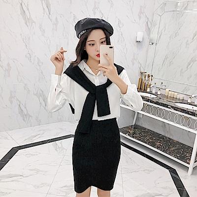 DABI 韓系針織拼接披肩假襯衫包臀裙套裝長袖裙裝