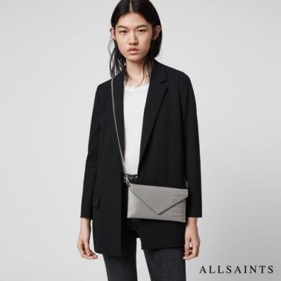 ALLSAINTS LEVER 簡約時尚牛皮信封雙用手拿肩背包-亮灰