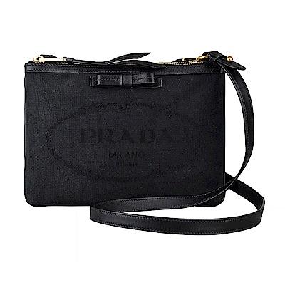 PRADA經典刺繡LOGO蝴蝶結設計牛皮滾邊帆布雙層拉鍊斜背包(黑)