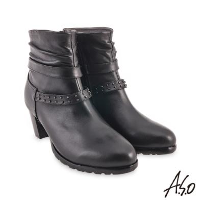 A.S.O  時尚流行 鉚釘穿條個性短靴-黑