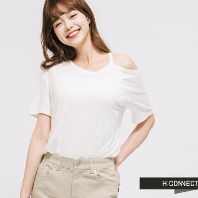 H:CONNECT 韓國品牌 女裝 -不對稱露肩設計T-Shirt - 白