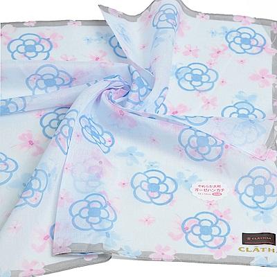 CLATHAS 經典山茶花圖騰LOGO繽紛花朵帕領巾(水藍系)