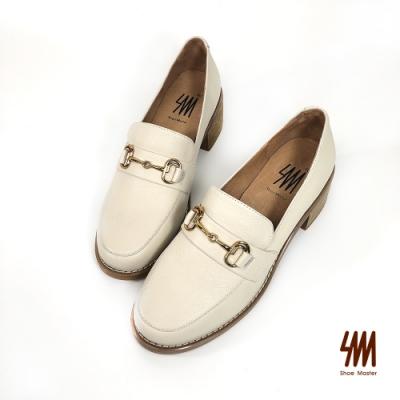 SM-經典雙C馬蹄扣木紋跟樂福鞋(香草米)