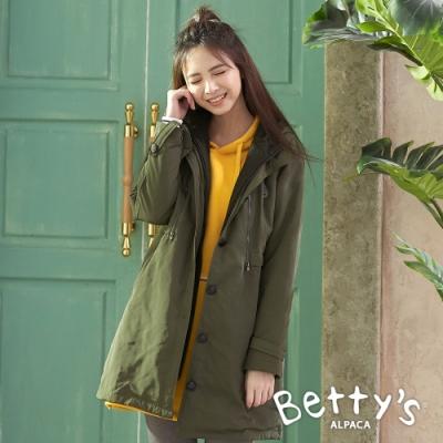 betty's貝蒂思 連帽配色假兩件鋪棉大衣(深綠)