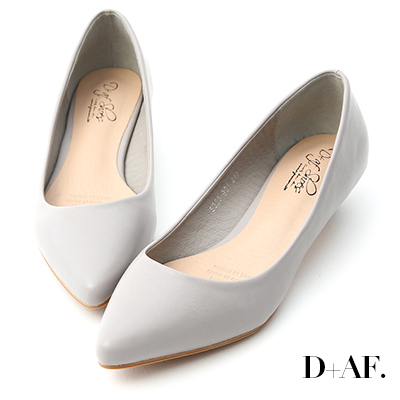 D+AF 微醺色調.素面美型低跟尖頭鞋*灰