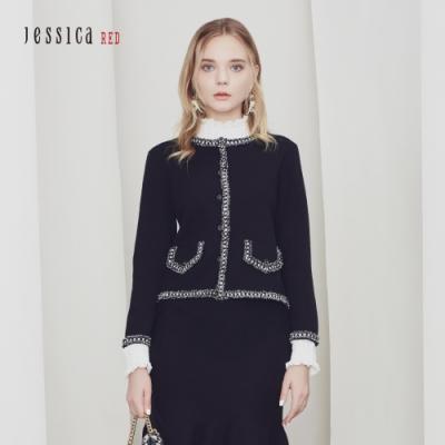JESSICA RED - 黑色優雅撞色鑲邊小香風圓領針織開衫外套
