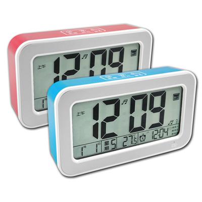 USB觸控式多功能靜音智能感光貪睡日期電子鬧鐘- 二色任選