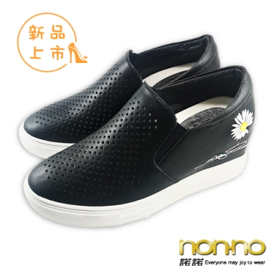 nonno 諾諾夏季菊花系列清新舒適百搭休閒懶人鞋-黑