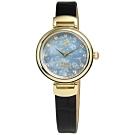 Vivienne Westwood Hampton 圓舞曲真皮手錶-藍x金框x黑/32mm