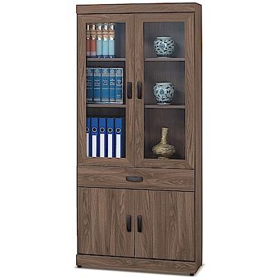 凱曼  菲利普胡桃色2.7尺中抽書櫥/書櫃