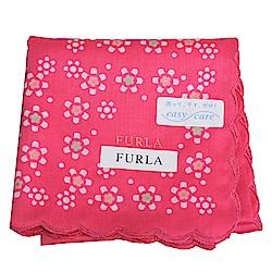 FURLA 繽紛花朵圖騰品牌字母LOGO帕領巾(桃紅系)