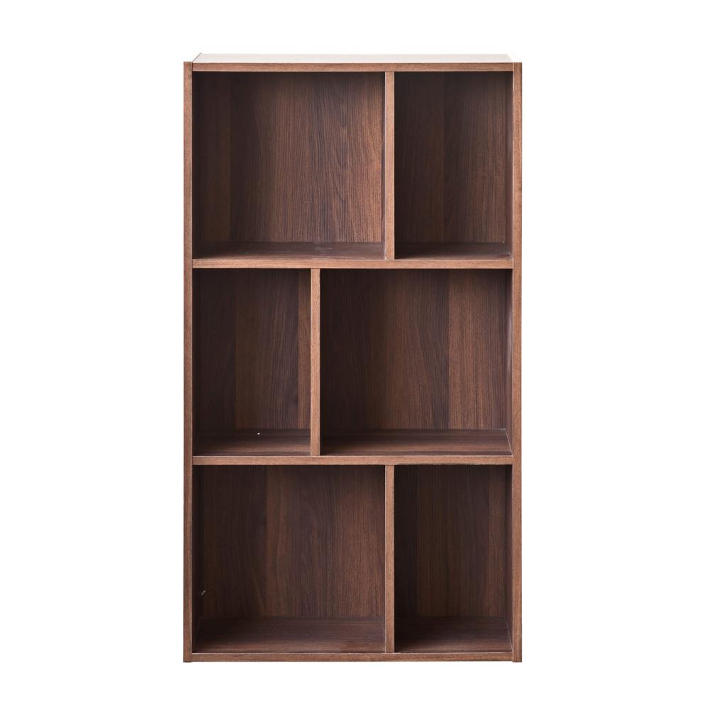 TZUMii 超穩固和風三層六格櫃-胡桃木色