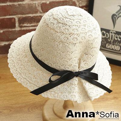 AnnaSofia 後縮綁帶蕾絲拼接 寬簷防曬遮陽漁夫帽(米杏系)