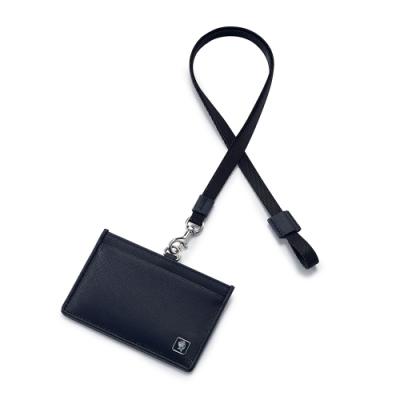 PORTER - 法式時尚BEND橫式掛繩證件套 - 深藍