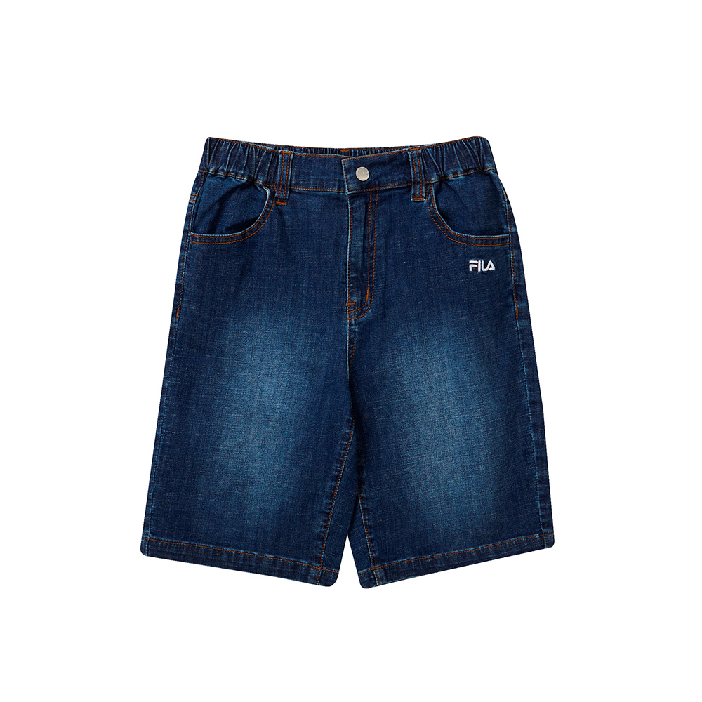 FILA KIDS 童牛仔五分褲-藍 1SHT-4456-BU