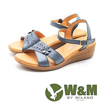 W&M(女)溫柔童趣 真皮交叉楔型涼鞋-藍(另有紅)