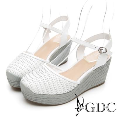 GDC-HOT!人氣NO.1夏日編織日系真皮楔型涼鞋-白色
