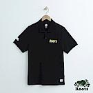 男裝-Roots 左胸刺繡短袖POLO衫-黑