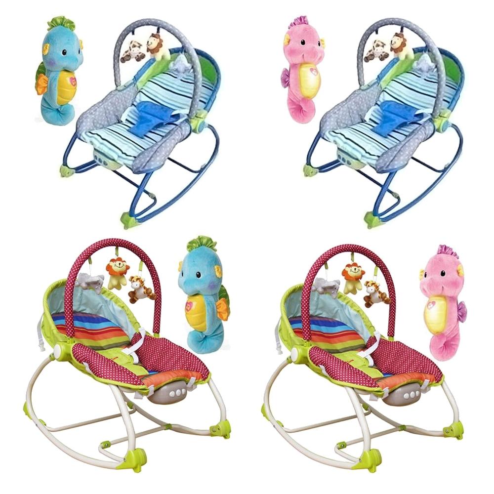 MothersLove嬰兒震動搖椅藍綠+費雪Fisher聲光小海馬藍粉