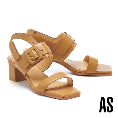 涼鞋 AS 簡約時髦異材質拼接全真皮後繫帶方頭高跟涼鞋-咖