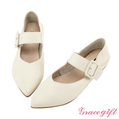 Grace gift-全真皮尖頭寬帶2way平底鞋 杏