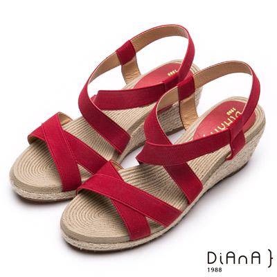 DIANA羅馬線條-質感交叉織帶楔型涼鞋-紅