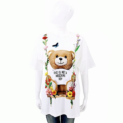 MOSCHINO 花朵鞦韆泰迪熊白色棉質T恤(寬版)