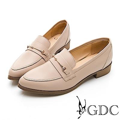 GDC-歐風真皮簡約知性尖頭鞋-米色