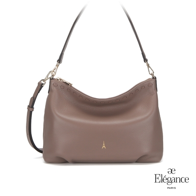 【Elegance】ADELE簡約牛皮側背包-棕色