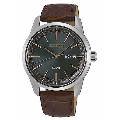 SEIKO精工 質感簡約太陽能時尚腕錶V158-0BE0G(SNE529P1)
