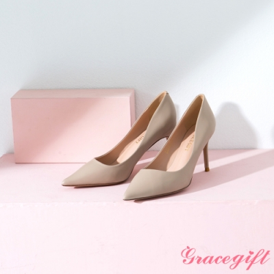 Grace gift-素面尖頭平口細高跟鞋 杏