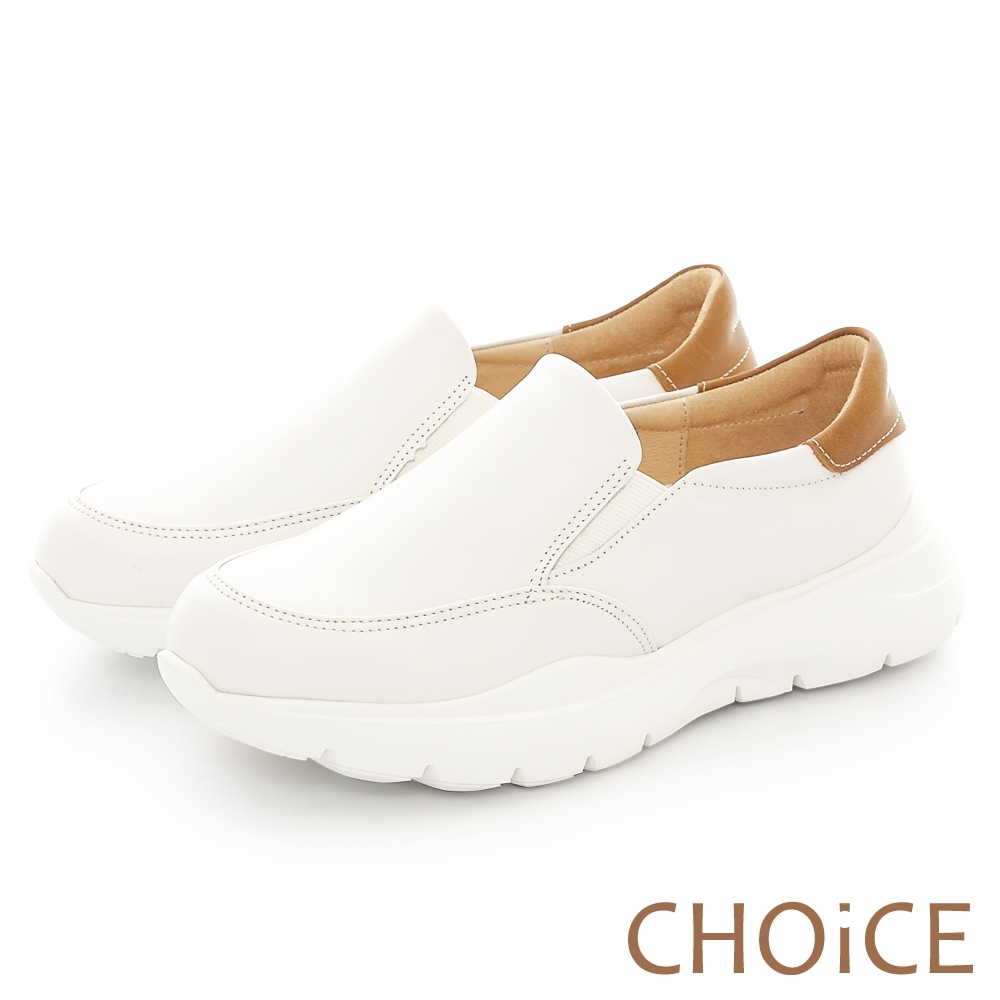 CHOiCE 率性簡約牛皮厚底休閒包鞋 白色