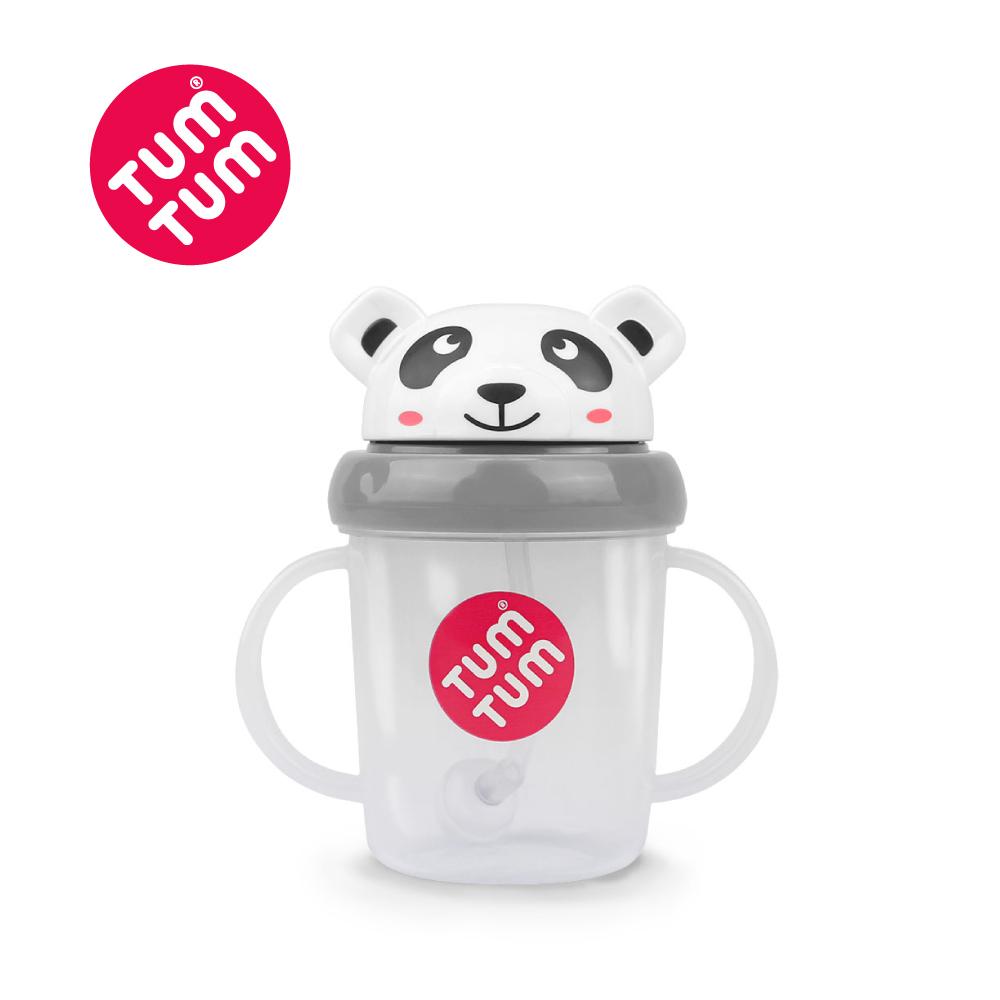 TUM TUM 熊貓皮普-頭蓋型防漏學習水杯(灰)200ml