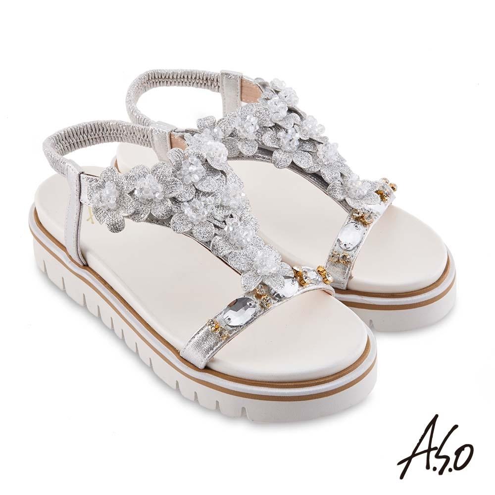A.S.O 時尚流行 夏季輕量花飾造型休閒底台涼鞋-白
